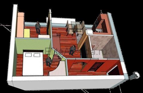 Хрущевка после перепланировки смежного варианта из 2 комнат.