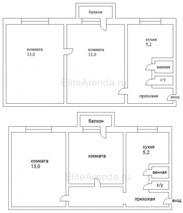 Фото варианта перепланировки хрущевки  из смежных 2 комнат.
