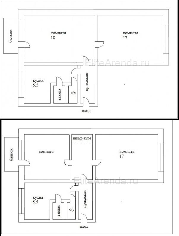 Фото еще одного варианта перепланировки хрущевки  из смежных 2 комнат.