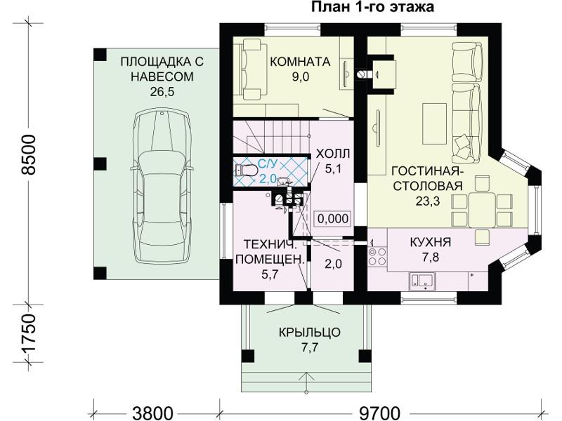 Планировка первого этажа в 1 варианте.
