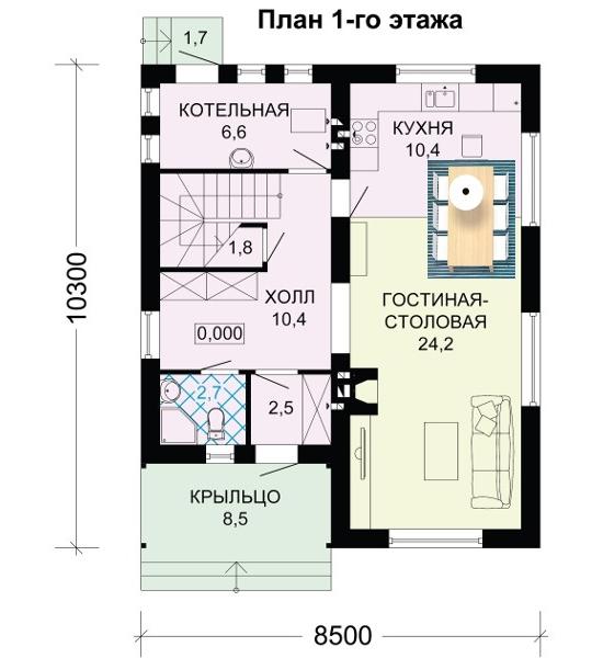 Фото планировки дома 8 на 10 со вторым этажом мансардой.