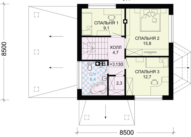 Фото планировки второго этажа этого частного дома.