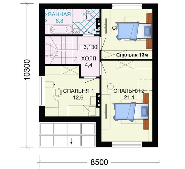 Проект дома 8 на 10 с мансардой, 2 этаж.
