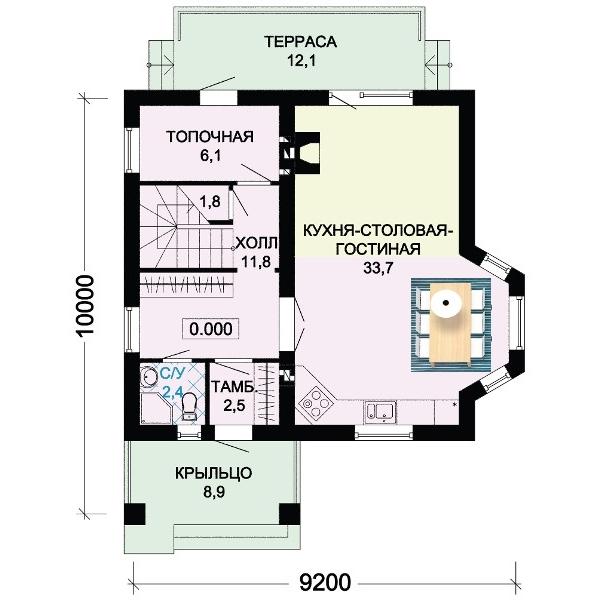 Фото планировки дома 8 на 10 с большим залом.