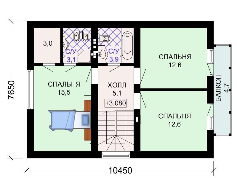 Фото планировки 2 этажа частного дома.