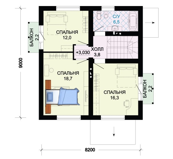 На фото - 3 вариант планировки второго этажа.