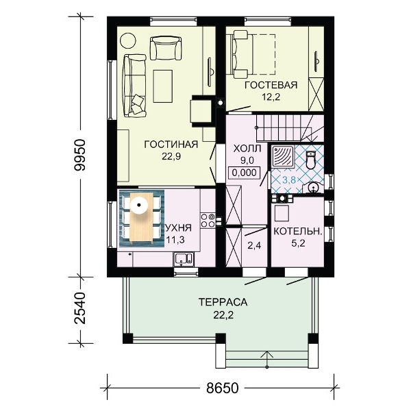 Планировка проекта нижнего этажа.