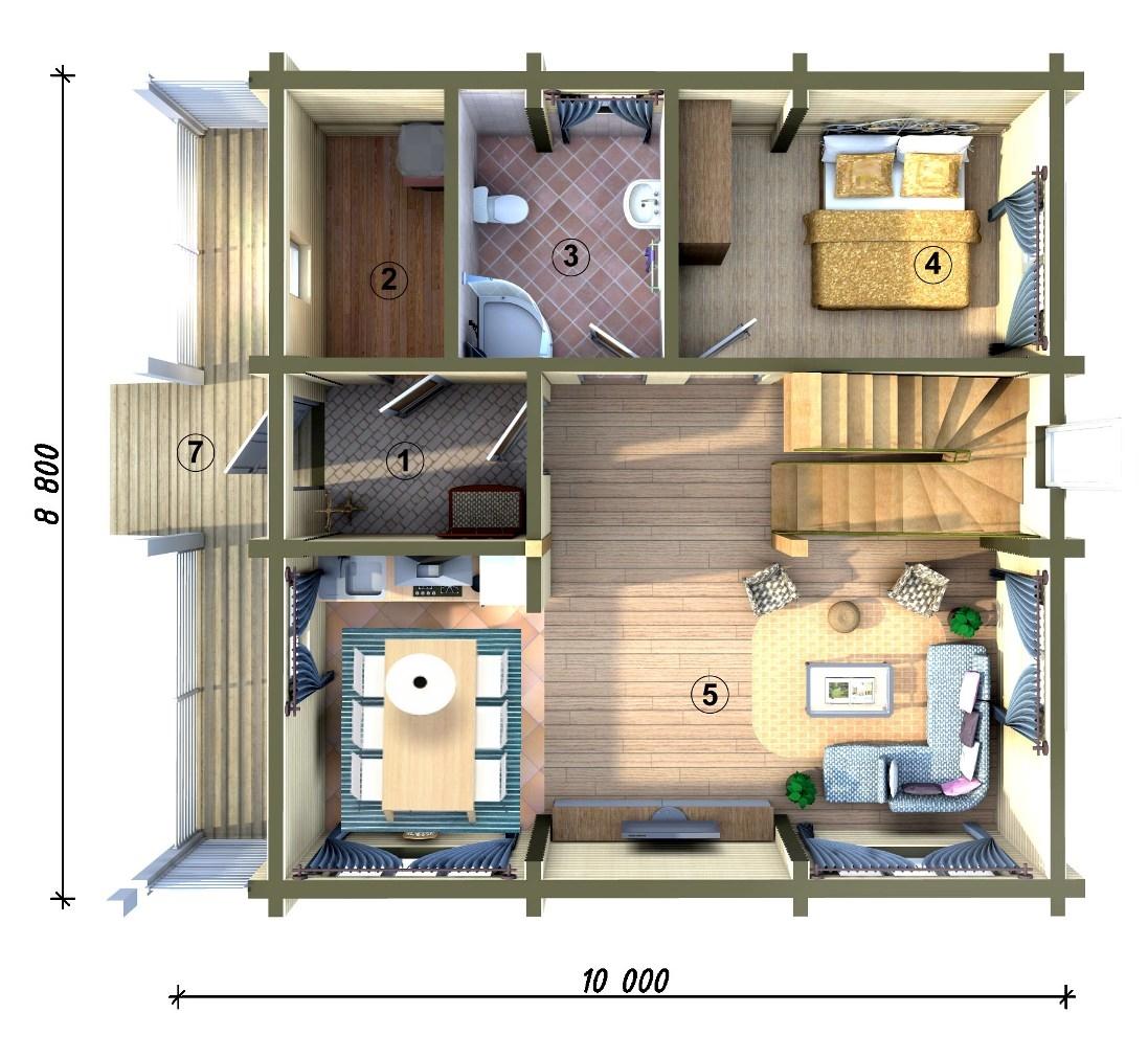 Фото 1 этажа 4 варианта частного дома.