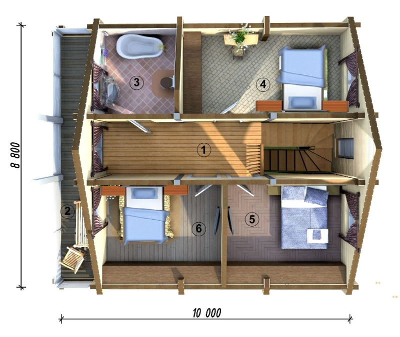 Планировка второго этажа частного дома.