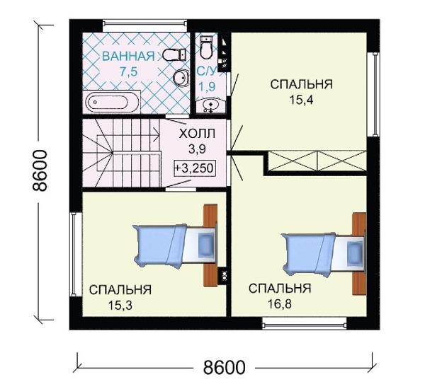 Фото планировки этажа с мансардой в доме 8 на 10.