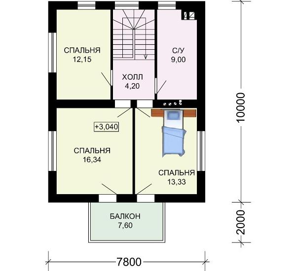Планировка второго этажа в доме №5.