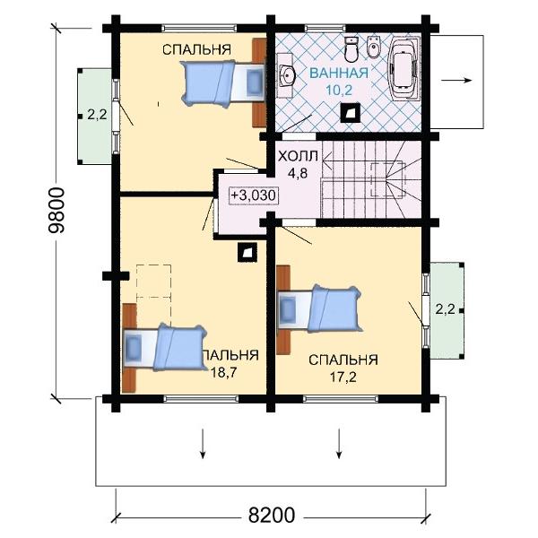План второго этажа дома с мансардой.