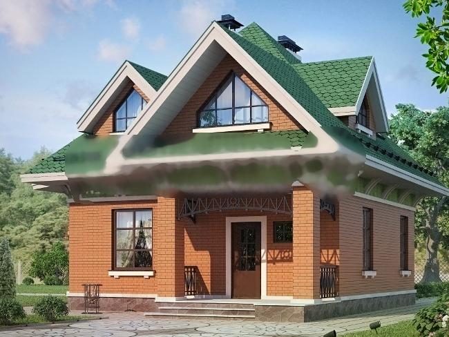 Дом из пеноблока размером 9 м на 10 м.