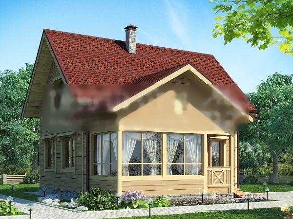 Проект двухэтажного дома 9 на 10 метров. Первый вариант.