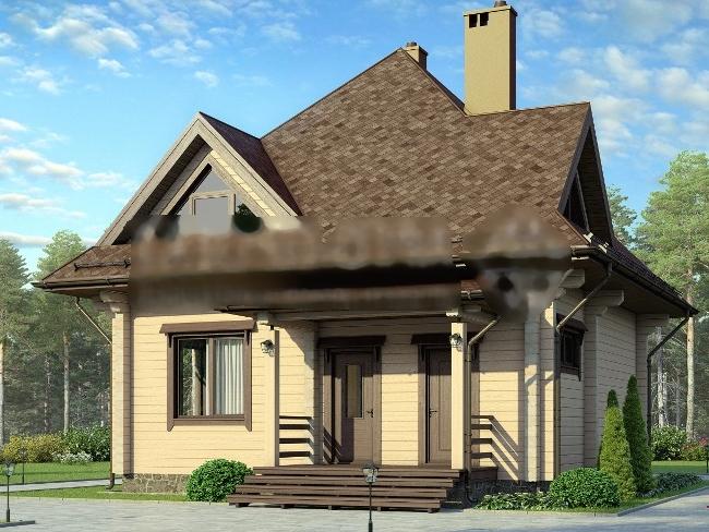 Общий вид дома 9 метров на 10 метров.