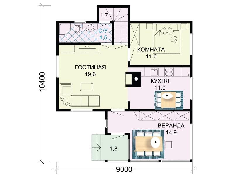 Проект 1 этажа двухэтажного дома 9 м на 10 м.