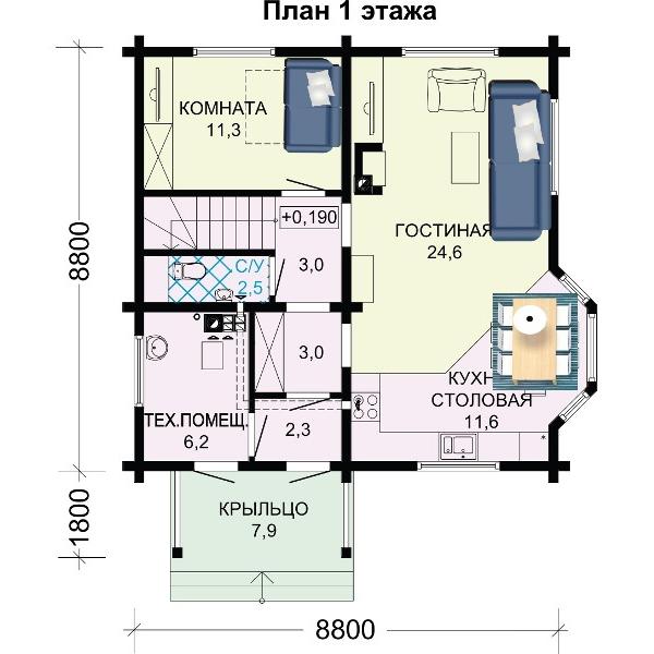 1 этаж этого двухэтажного дома.