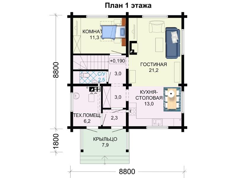 Первый этаж проекта двухэтажного дома 9 на 10 метров.