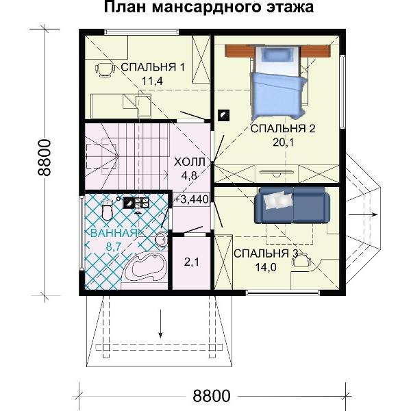 Верхний этаж двухэтажного дома.